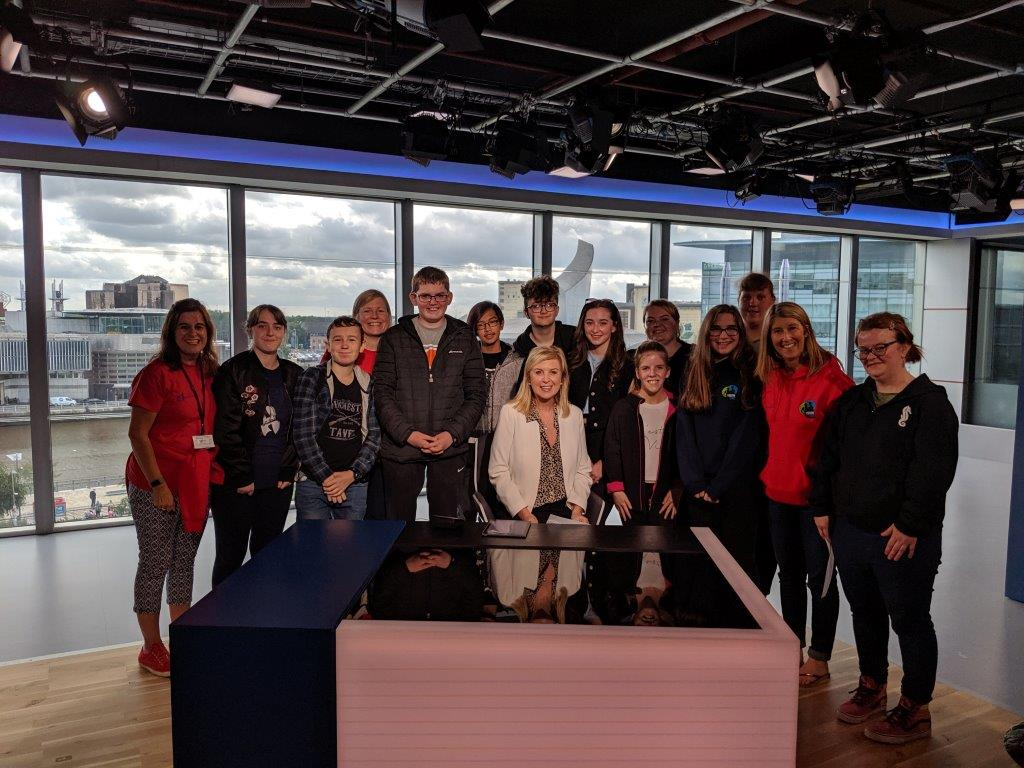 ITV Granada news presenter Lucie Meacock with the Youth Vibe group