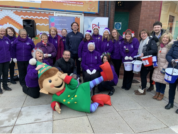 Elfie from CH1 Bid getting in on the fundraising action in Chester with DSN