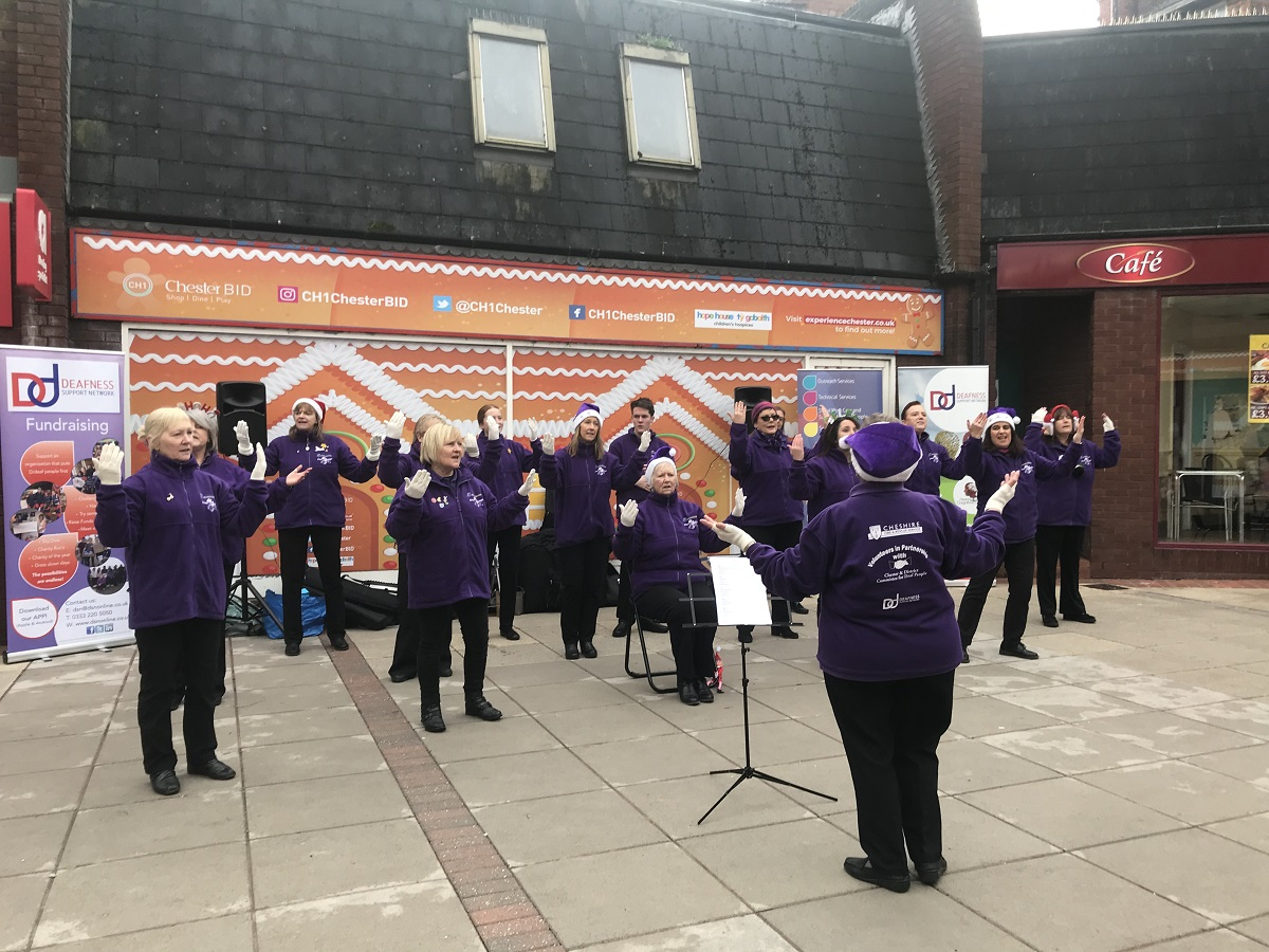 The Dee Sign Choir in Frodsham Square Chester